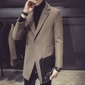 毛呢大衣-中長版純色翻領百搭秋冬羊毛男外套2色73qc15【巴黎精品】