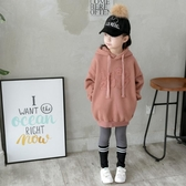 女童秋冬季長款衛衣兒童連帽寬鬆小學生中大童時尚帽衫上衣潮促銷好物
