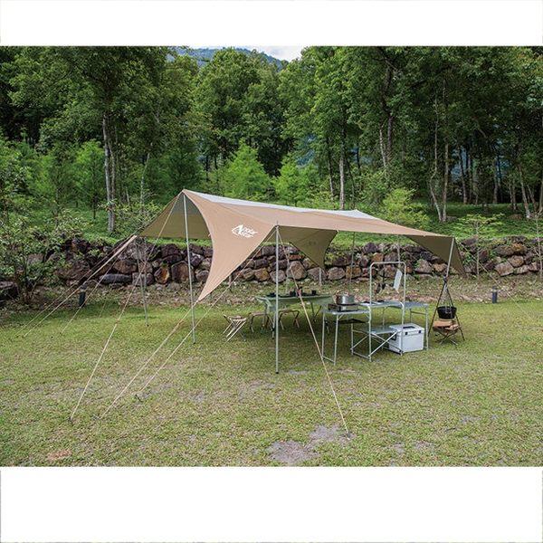 PolarStar 方型變形天幕專業套裝組『金棕/銀白』760x450cm|炊事帳|客廳帳|網屋 P15709