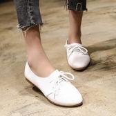 皮鞋牛津鞋 學院風軟底百搭簡約小皮鞋圓頭平底系帶單鞋 巴黎春天