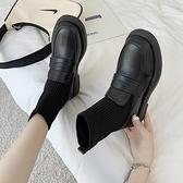 短靴 襪靴女馬丁春秋單靴黑色百搭英倫風ins潮顯腳小網紅瘦瘦短靴 晶彩