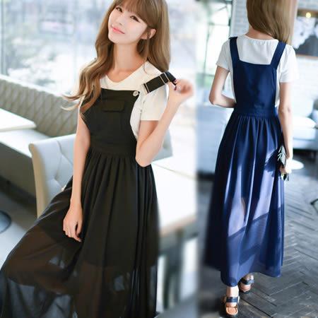 韓風雪紡吊帶連身裙/兩件套/洋裝 S-XL碼【D927417】