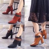 短靴女粗跟拉鏈保暖鉚釘英倫高跟新款靴加絨2018時裝側尖頭棉靴 XN7319【極致男人】