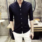 七分袖襯衫男立領潮流韓版發型師帥氣襯衣7分中袖寸衫男士   蜜拉貝爾
