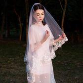 頭紗 新娘頭紗韓式蕾絲頭紗短款 莎拉嘿幼
