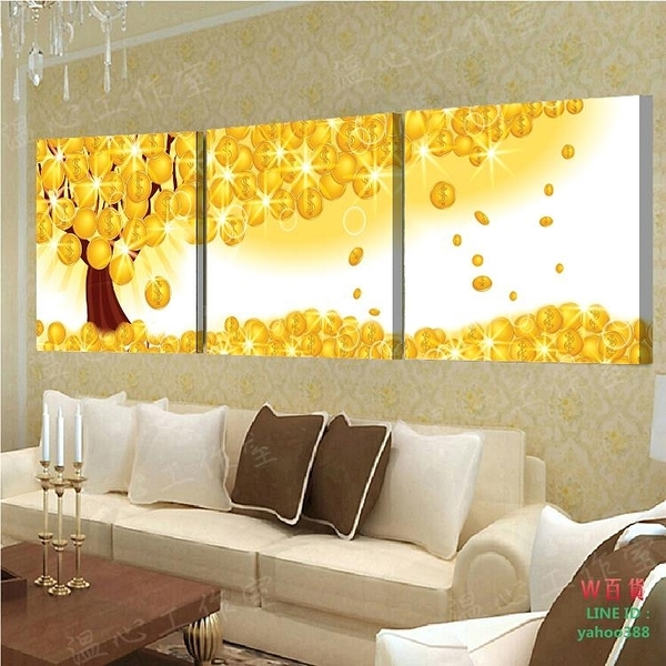 無框畫裝飾畫客三聯畫臥室掛畫壁畫搖錢樹