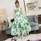 實拍印花中長款大擺連身裙時尚氣質顯瘦