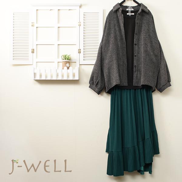 J-WELL 條絨感落肩襯衫斜邊抓皺素面T長裙三件組(組合B028 9J1021深灰+9J1093黑+9J1099綠)