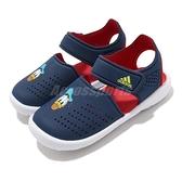 adidas 涼拖鞋 Fortaswim Stripes I 藍 紅 童鞋 小童鞋 唐老鴨 魔鬼氈 拖鞋 【ACS】 FW6057