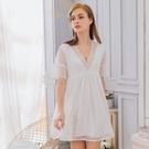 睡衣 性感睡衣 居家女神V領純白緹花蕾絲洋裝情趣性感睡衣 星光密碼 S109