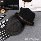 爵士帽女英倫小禮帽秋冬韓國復古青年小沿捲邊帽子休閒毛線羊毛帽 「潔思米」