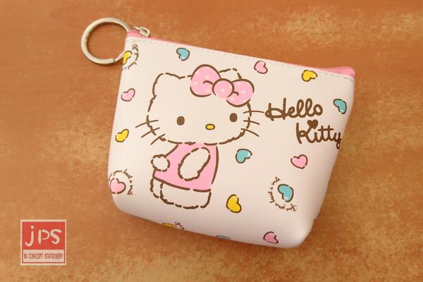 Hello Kitty 凱蒂貓 皮革鎖圈零錢包  愛心 粉