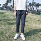 找到自己品牌 時尚潮流 男 簡約休閒 純色 鬆緊帶 休閒褲 九分褲 小腳褲