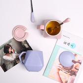 定製創意杯子陶瓷辦公室水杯茶杯牛奶咖啡馬克杯帶蓋勺定製情侶早餐杯【中秋節單品八折】
