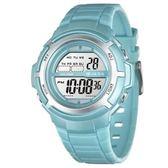 JAGA 捷卡 多功能電子錶 休閒錶 38mm 手錶 女錶 運動錶 學生錶 M1085-EE 淺藍綠