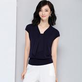 短袖針織衫-飄帶V領天絲純色女T恤2色73xi39【巴黎精品】