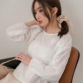 現貨-MIUSTAR 立體葉片刺繡傘襬棉麻上衣(共1色)【NJ0069】