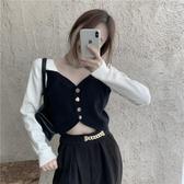 特價限購 設計感拼色短款毛衣女裝新款秋冬季韓版v領顯瘦針織衫上衣