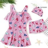 兒童泳衣女童泳裝裙式分體洋氣可愛女孩學生游泳衣【君來佳選】