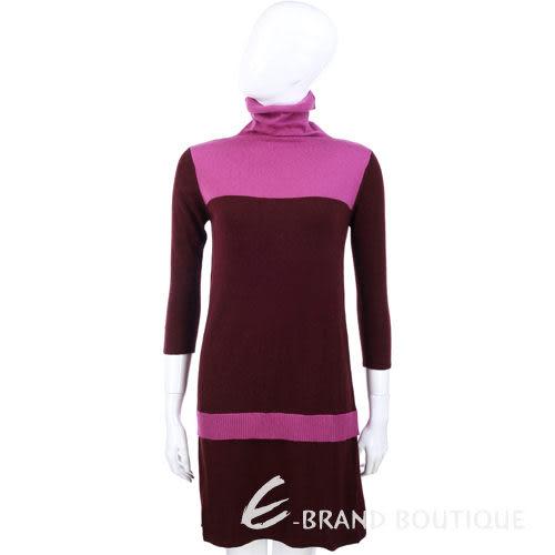 i BLUES 紫紅色立領長袖洋裝 1340409-D4