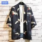 夏季男士中國風印花七分袖襯衫加肥加大碼寬鬆胖子新品潮流上衣服短袖襯衫