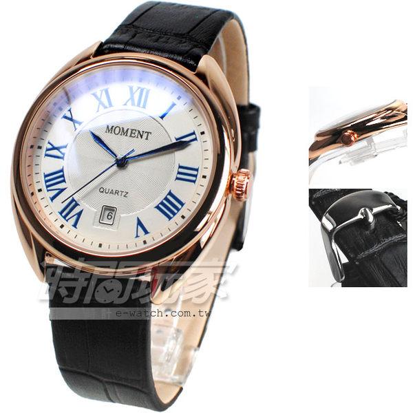 MOMENT舜時 日本機蕊 羅馬風情 真皮錶帶 玫瑰金x黑色 男錶 MO8093G黑大 羅馬數字時刻 復古復刻