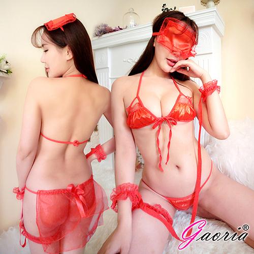 情趣用品【Gaoria】閨房遊戲 三點式 多件套遊戲 性感情趣睡衣 紅 N4-0044