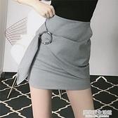 一步短裙2020夏季新款裙子顯瘦高腰小個子不規則包臀黑色半身裙女 中秋節全館免運