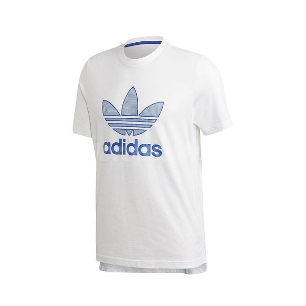 adidas 短袖T恤 Warm-Up Tee 白 藍 男款 短T 運動休閒 【PUMP306 GK0652