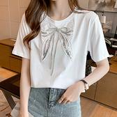短T~6835白色T恤衫女短袖氣質蝴蝶結新款T658日韓屋
