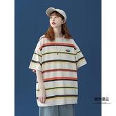 條紋短袖T恤女夏寬鬆韓版上衣設計感小眾半袖【聚物優品】