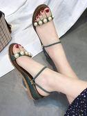 厚底楔形涼拖鞋女時尚百搭外穿羅馬鞋平底涼鞋拖鞋兩穿 『米菲良品』