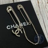 BRAND楓月 CHANEL 香奈兒 銀色雙別針造型胸針 水鑽雙C墜飾 別針 配件