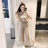 FINDSENSE G5 韓國時尚 蕾絲 兩件套 刺繡 短袖 上衣 闊腿褲 套裝