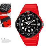 CASIO卡西歐MRW-200HC-4B指針錶黑面 大錶盤 數字時刻 紅色橡膠 47mm 男錶 運動錶 MRW-200HC-4BVDF