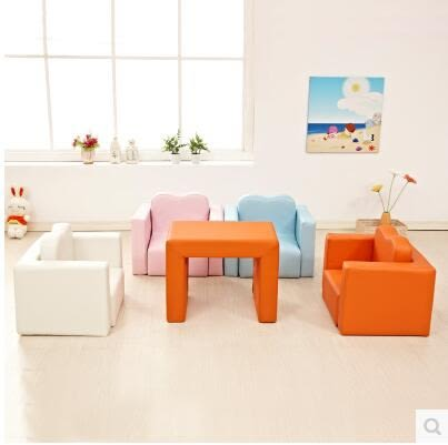兒童沙發嬰兒寶寶小沙發可愛單人實木沙發椅百變小沙發可拆洗-炫彩腳丫折扣店
