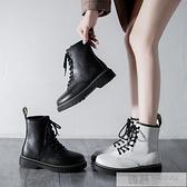 馬丁靴女英倫風夏季黑色薄款飛織春秋單靴百搭潮機車短靴靴子 母親節特惠