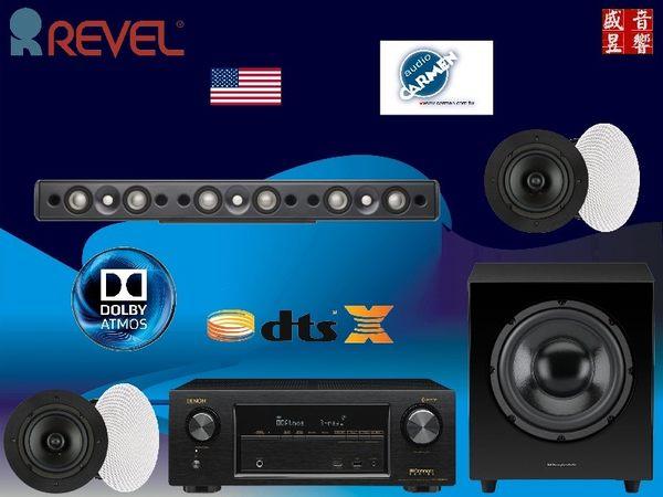 盛昱音響~美國 REVEL LCR8 + CS-6R+ WH-D10 + DENON AVR-X1400H 藍光劇院組合