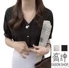 EASON SHOP(GW6401)韓版撞色圓波點點印花薄款短版前排釦V領短袖泡泡袖雪紡襯衫女上衣服落肩寬鬆內搭