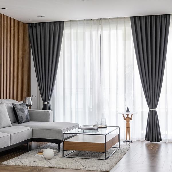全遮光窗簾北歐簡約客廳臥室250*270【可改短】雪尼爾棉麻成品飄窗布紗遮陽隔熱