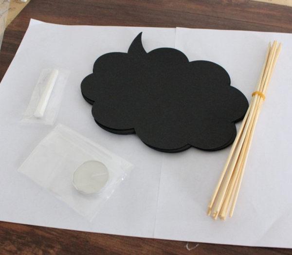 10個/包 創意拍照道具黑板 黑卡婚慶雲朵寫字板 帶粉筆─預購CH289