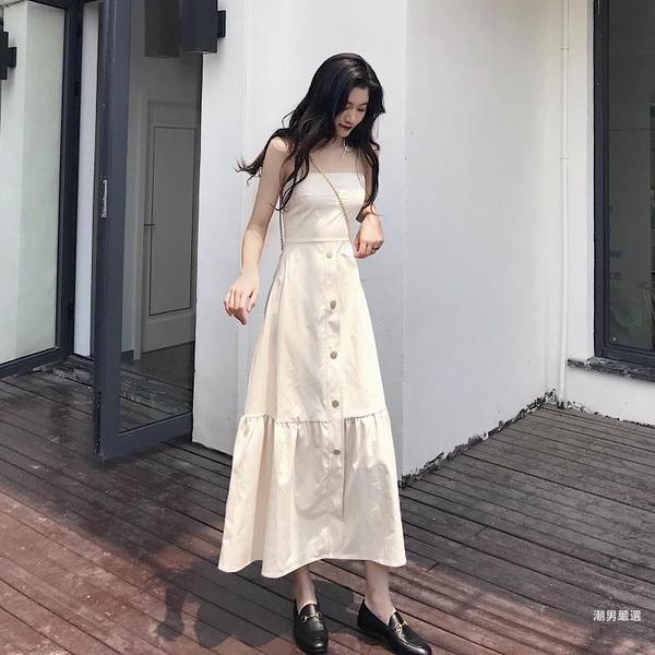 洋裝夏季2018新品韓國百搭復古初戀裙露背細肩帶中長版連身裙女潮