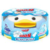 〔小禮堂〕日本大王 日製嬰兒濕紙巾盒《藍.企鵝》內附70抽純水濕紙巾 4902011-73161