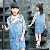 女童牛仔吊帶裙 2019新款牛仔裙中大童洋氣背帶裙吊帶裙子 BF21179『寶貝兒童裝』