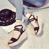 楔型鞋厚底楔形高跟涼鞋鬆糕厚底學生一字黑色鬆糕防水台涼鞋女  蘿莉小腳ㄚ