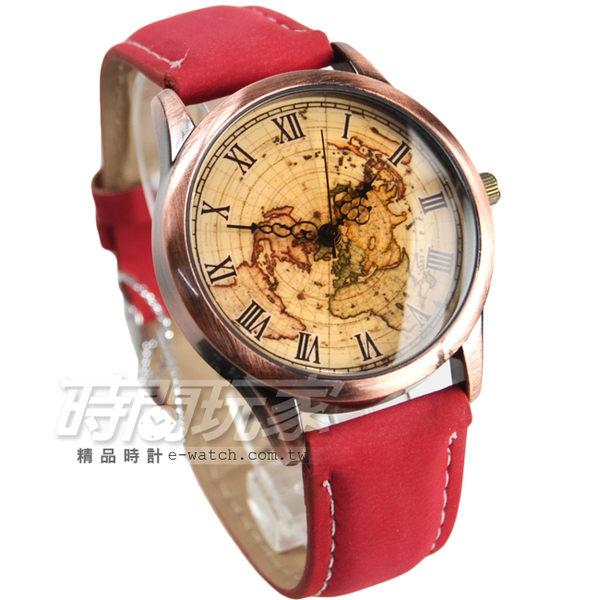 尋寶地圖羅馬時刻設計 古銅色電鍍 防水流行皮革腕錶 漸層 女錶 防水手錶 復古復刻 E9124紅