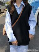 V領開叉背心馬甲女韓版百搭寬鬆顯瘦無袖毛衣針織衫外套兩件套  圖拉斯3C百貨