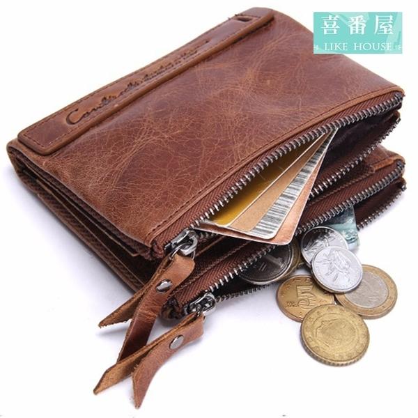 【喜番屋】日韓版真皮牛皮雙拉鍊男士皮夾皮包錢夾零錢包2折短夾流行男包男夾【LH363】