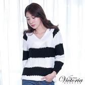 Victoria V領織紋變化拉克蘭長袖線衫-白-V6510180(領劵再折)
