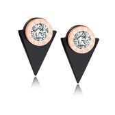 【5折超值價】【316L西德鈦鋼】時尚精美特色羅馬數字鑲鑽三角造型女款鈦鋼耳飾